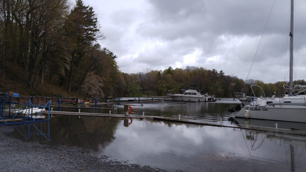 view of the North dock almost submerged